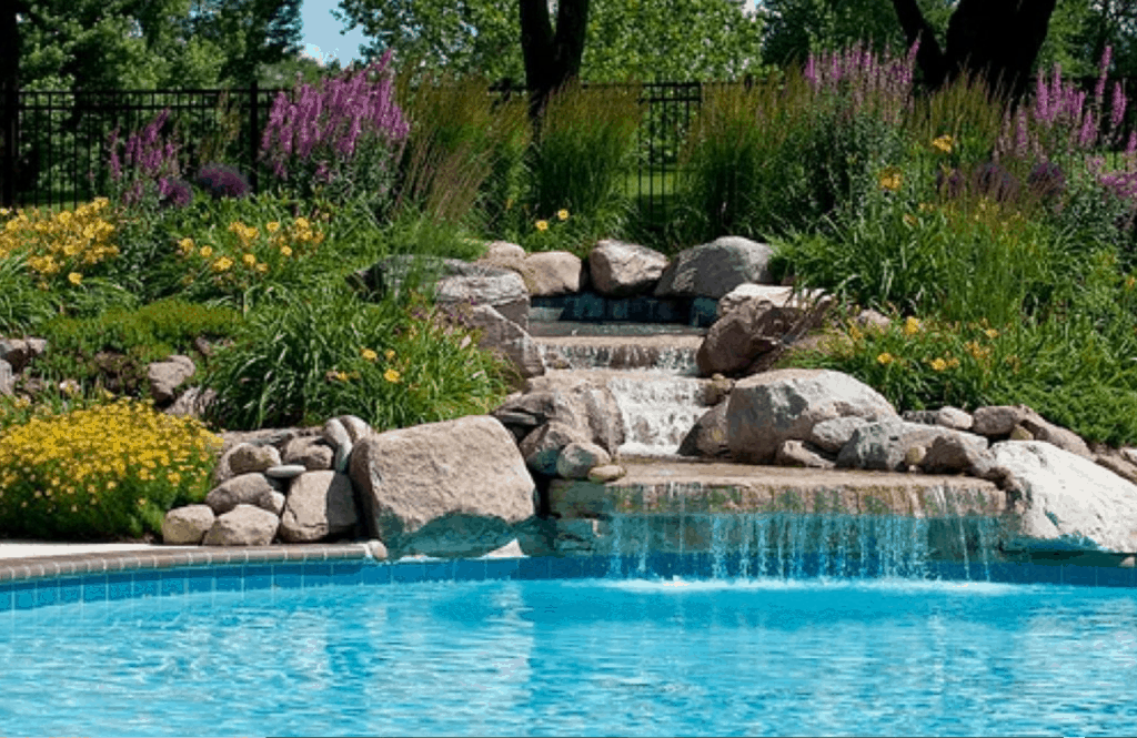 Stone Waterfall Pool Design