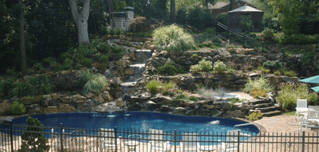 Poolside Waterfall Dix Hills NY